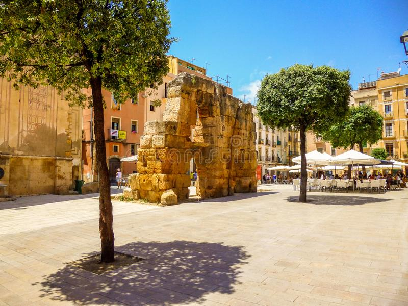 Rzymianin ściana w forum kwadracie TARRAGONA Catalonia Hiszpania obrazy royalty free