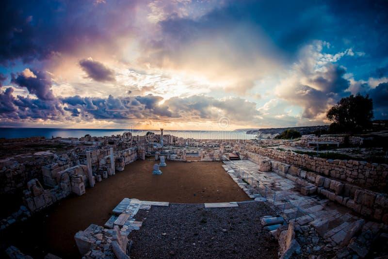 Rzymianin ruiny przy Kourion Limassol okręg Cypr obraz stock