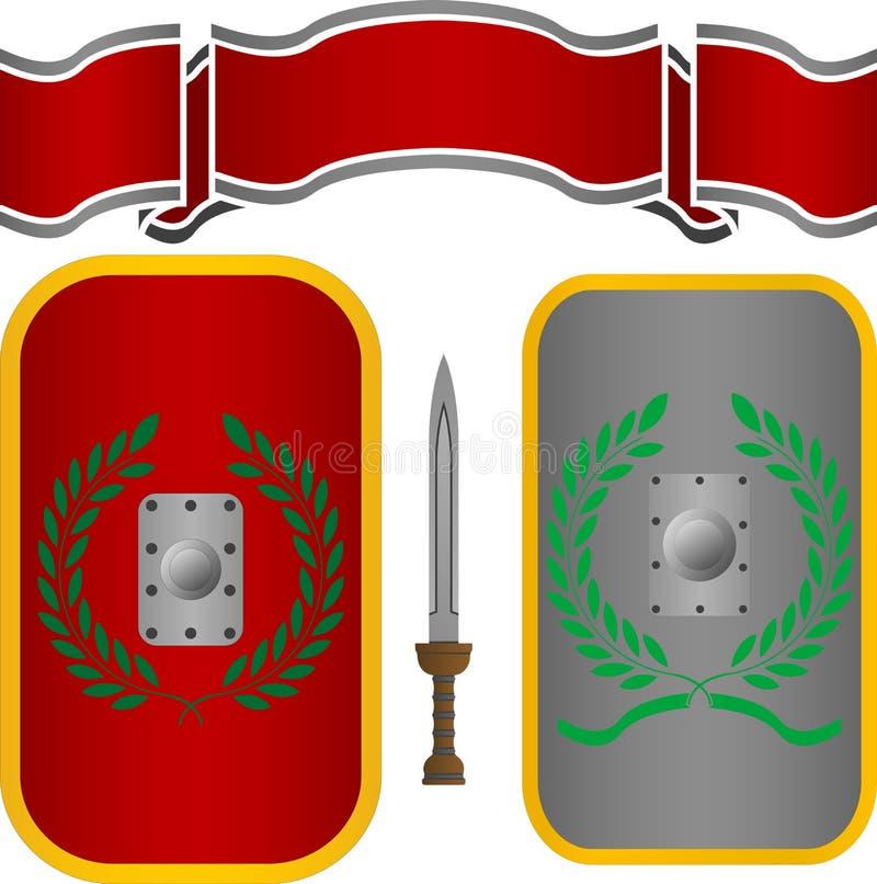 Rzymianina kordzik i osłony royalty ilustracja