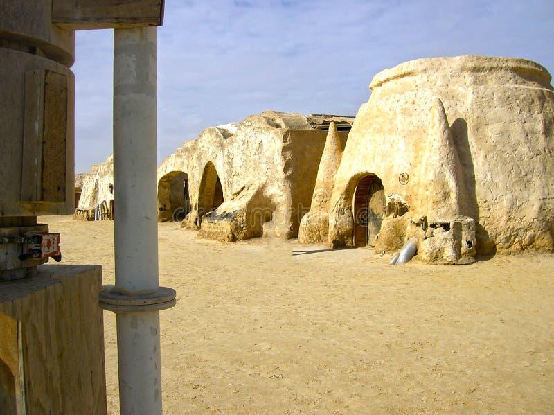 Sáhara, Túnez - 3 de enero de 2008: Sistemas abandonados para el tiroteo de la película Star Wars imágenes de archivo libres de regalías