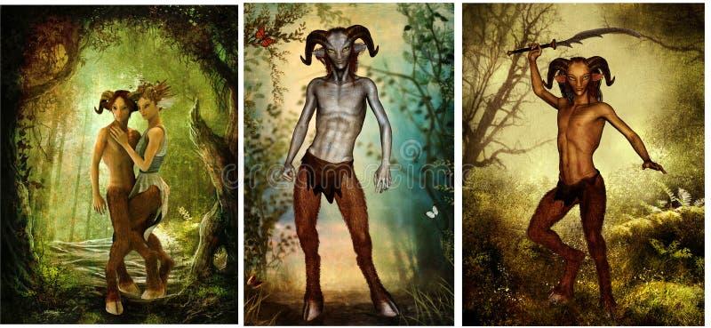 Sátiro de la mitología griega stock de ilustración