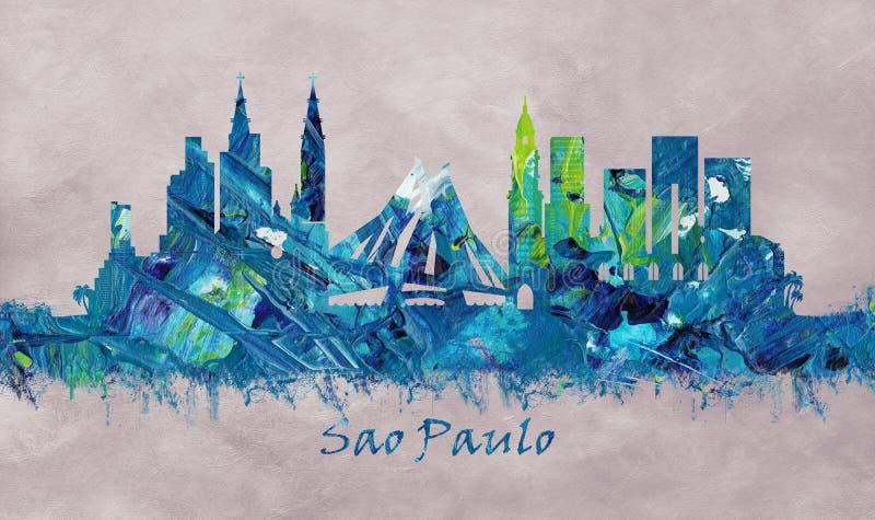 São Paulo Brazylia, linia horyzontu ilustracja wektor