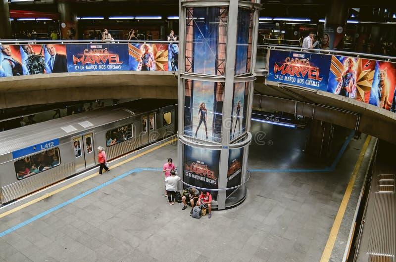 Sé-U-Bahnstation an Sao Paulo SP Brasilien lizenzfreie stockfotos