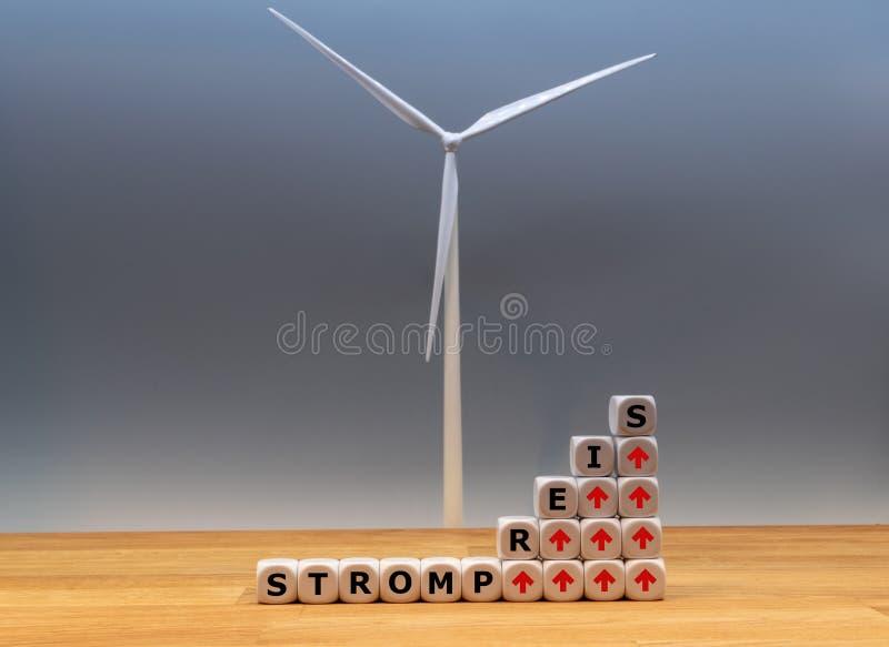 Símbolo para taxas crescentes da eletricidade imagem de stock royalty free
