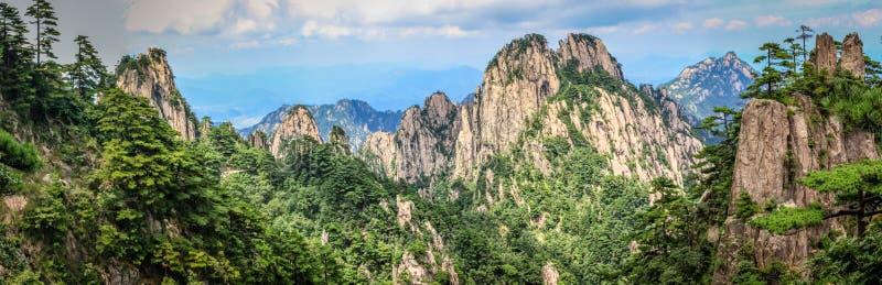 """Sörja träd i förgrunden och ruffa mot steniga maxima som leder till horisonten i å±± för Huang Shan é"""" """", gula berg royaltyfri fotografi"""