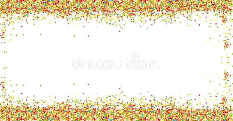 Süßer bunter Zuckerballpulverrahmen auf weißem Hintergrund mit Kopienraum Ostern-Grußkartengestaltungselement stock abbildung
