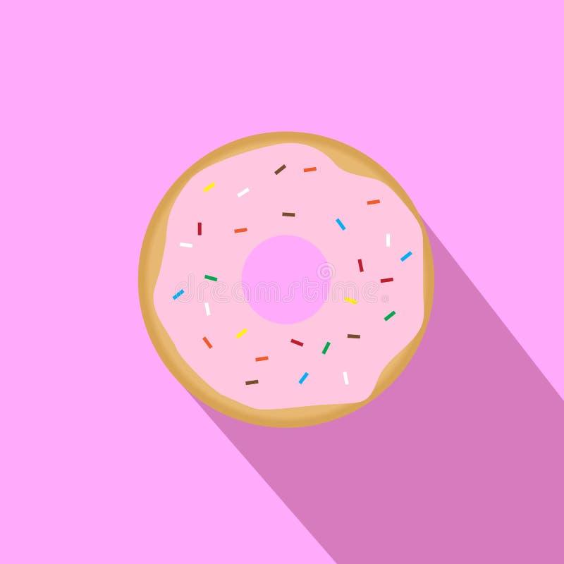 Süßer rosa glasig-glänzender Donut lizenzfreie abbildung