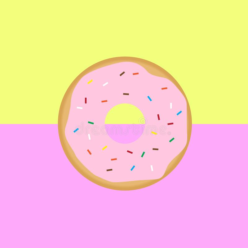 Süßer rosa glasig-glänzender Donut stock abbildung