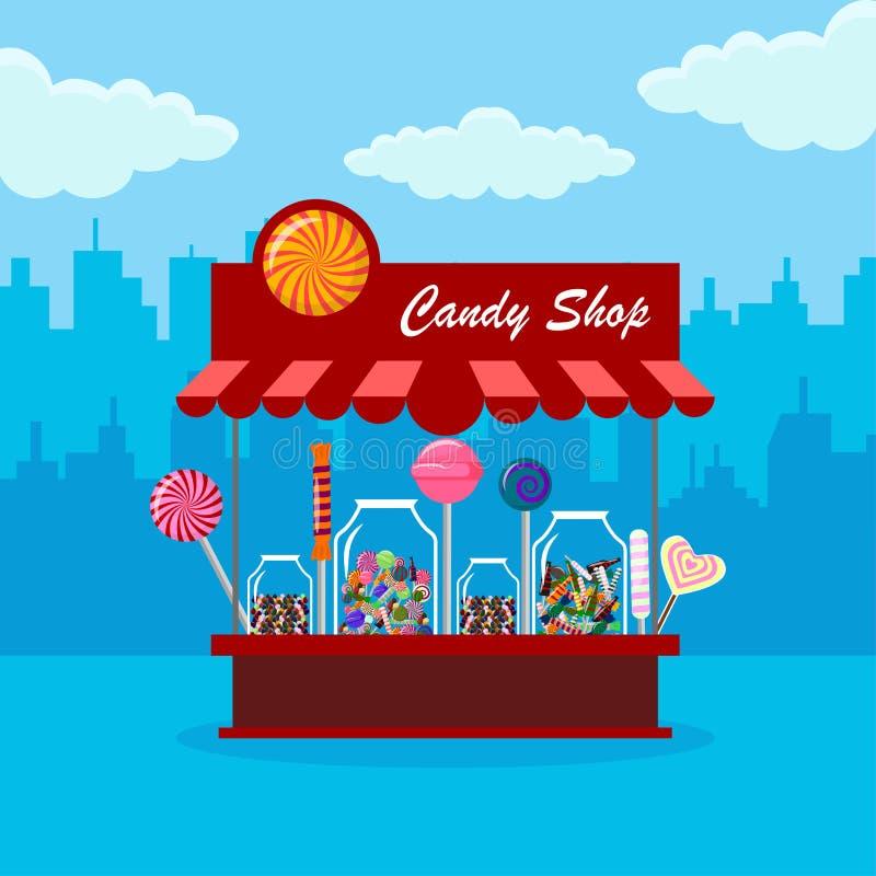 Süßigkeitsgeschäft, Speicher in der Stadt Süße Süßigkeiten im Glasgefäß lokalisiert auf Hintergrund Lutscher, Schokoriegel Vektor vektor abbildung