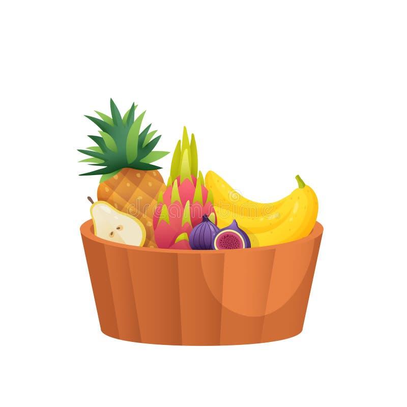 Süßspeise im tiefen Teller lokalisiert auf weißem Hintergrund vektor abbildung