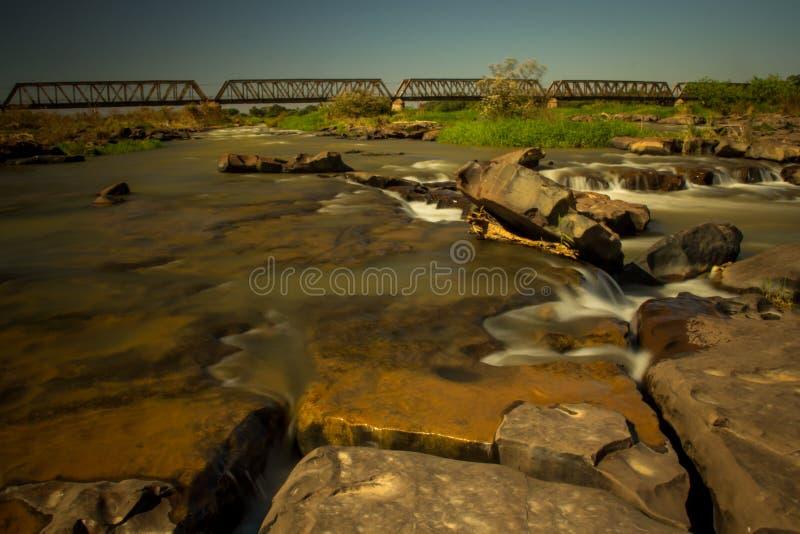 São Francisco river in long exposure. Pirapora, Brazil stock photos