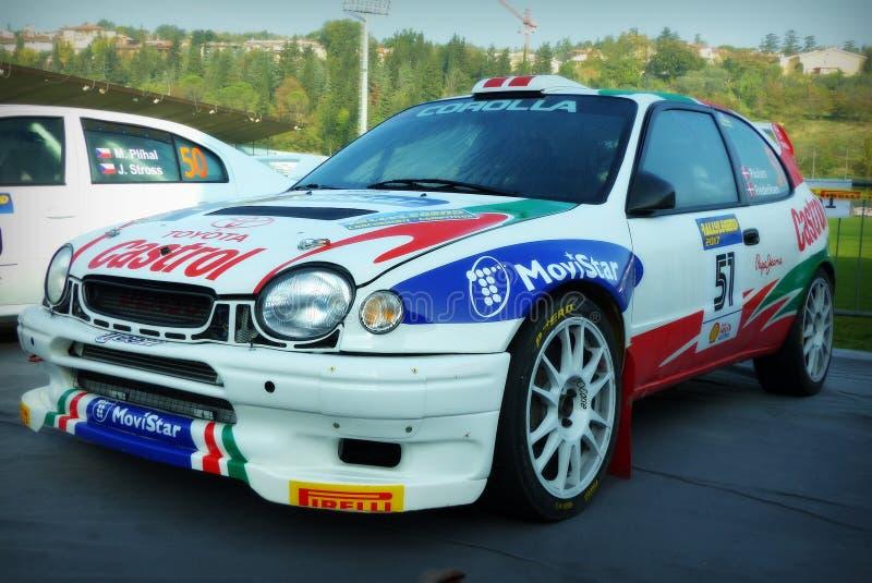 São Marino 21 de outubro de 2017 - TOYOTA COROLLA WRC na reunião a legenda imagens de stock