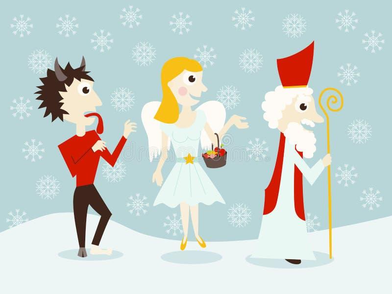 São Nicolau, anjo e diabo ilustração stock