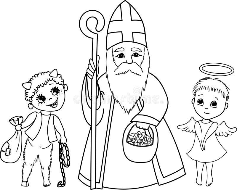 São Nicolau, anjo e diabo ilustração do vetor