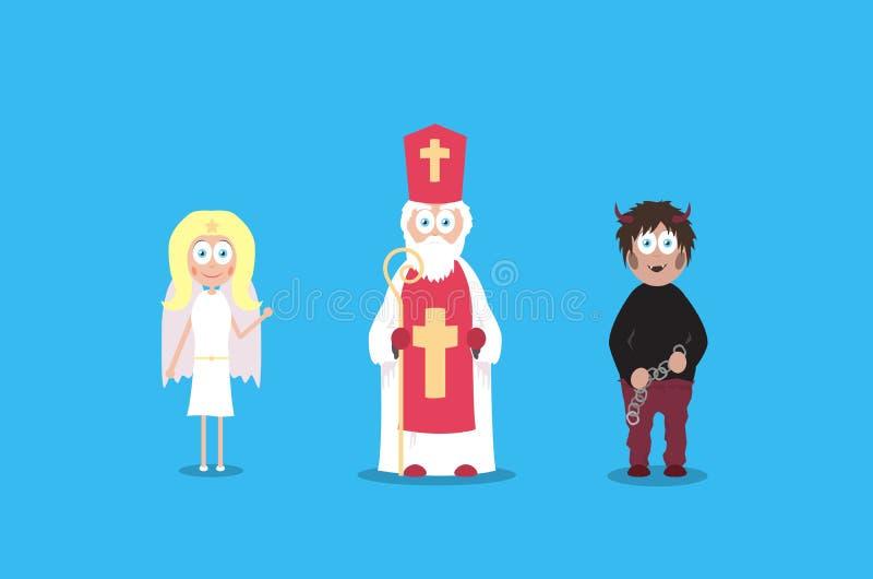 São Nicolau com anjo e diabo Charaters do vetor dos desenhos animados Feriados de dezembro ilustração royalty free