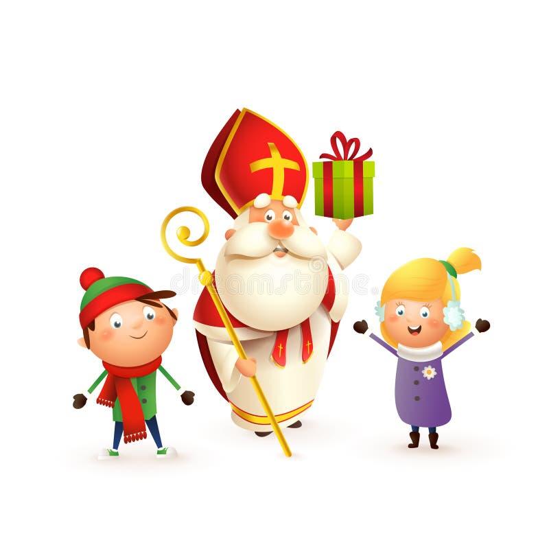 A São Nicolau com crianças menina e menino comemora os feriados - isolados no fundo branco ilustração royalty free