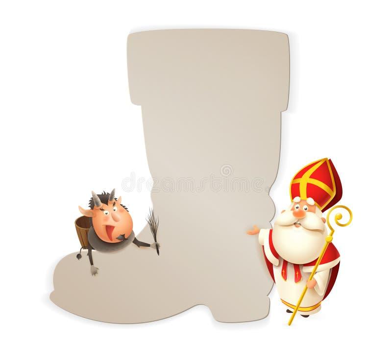 São Nicolau e Krampus com bota - molde do cartaz isolado no fundo branco - ilustração do vetor ilustração royalty free