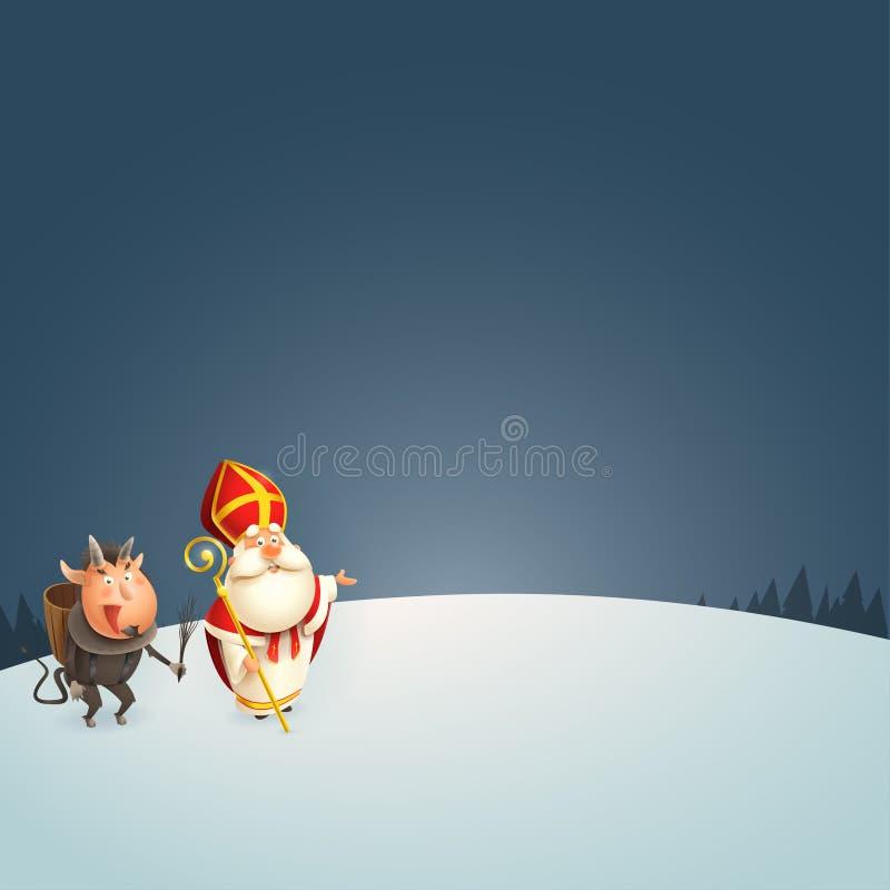 São Nicolau e Krampus na apresentação da noite do inverno - ilustração do vetor ilustração stock