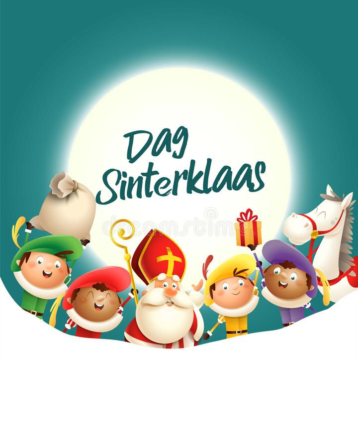 A São Nicolau e seus amigos comemoram o feriado na frente da lua - Dag Sinterklaas - fundo de turquesa com espaço da cópia ilustração royalty free
