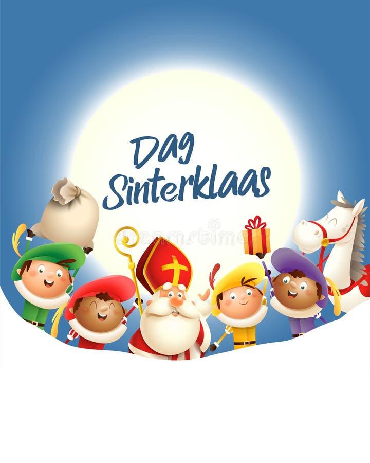 A São Nicolau e seus amigos comemoram o feriado na frente da lua - texto Dag Sinterklaas - fundo azul com espaço da cópia ilustração stock