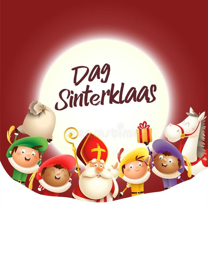A São Nicolau e seus amigos comemoram o feriado na frente da lua - texto de Dag Sinterklass - fundo vermelho ilustração do vetor