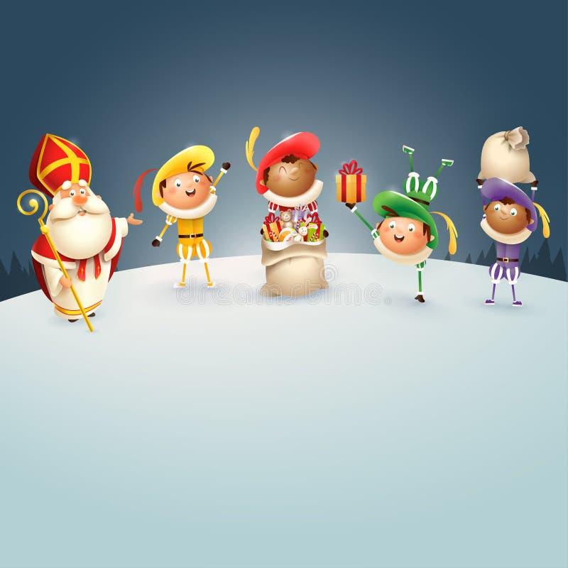 A São Nicolau e Zwarte Piets comemoram feriados holandeses na noite do inverno - ilustração do vetor ilustração stock