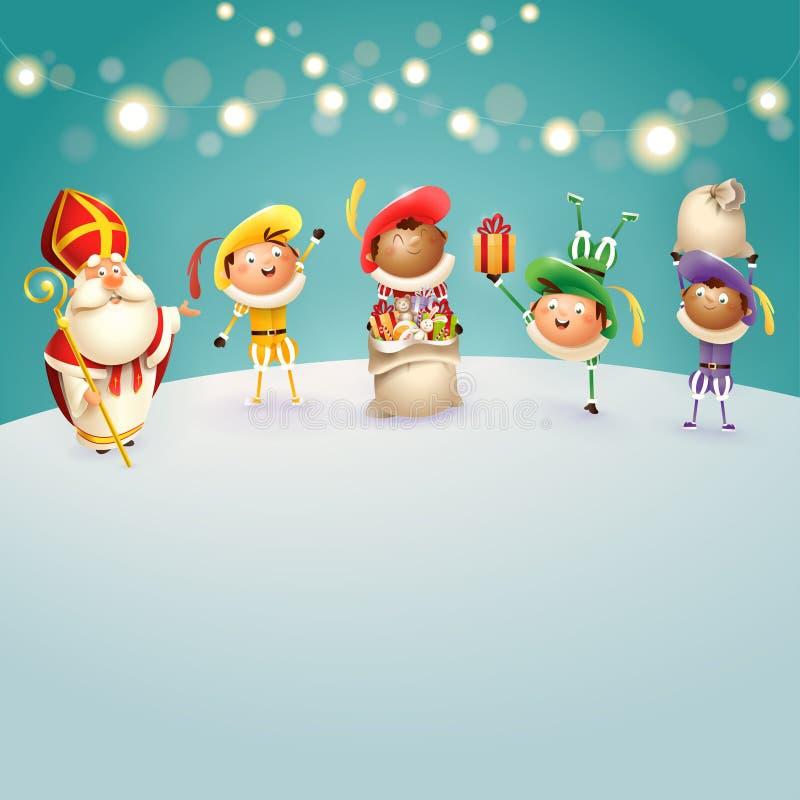 A São Nicolau e Zwarte Piets comemoram os feriados holandeses - fundo de turquesa com luzes - ilustração do vetor ilustração do vetor