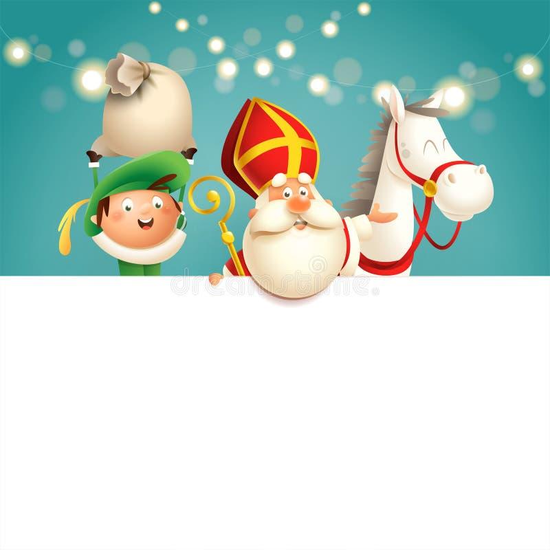 São Nicolau ou cavalo e ajudante de Sinterklaas a bordo - os caráteres bonitos felizes comemoram o feriado holandês - da ilustraç ilustração do vetor