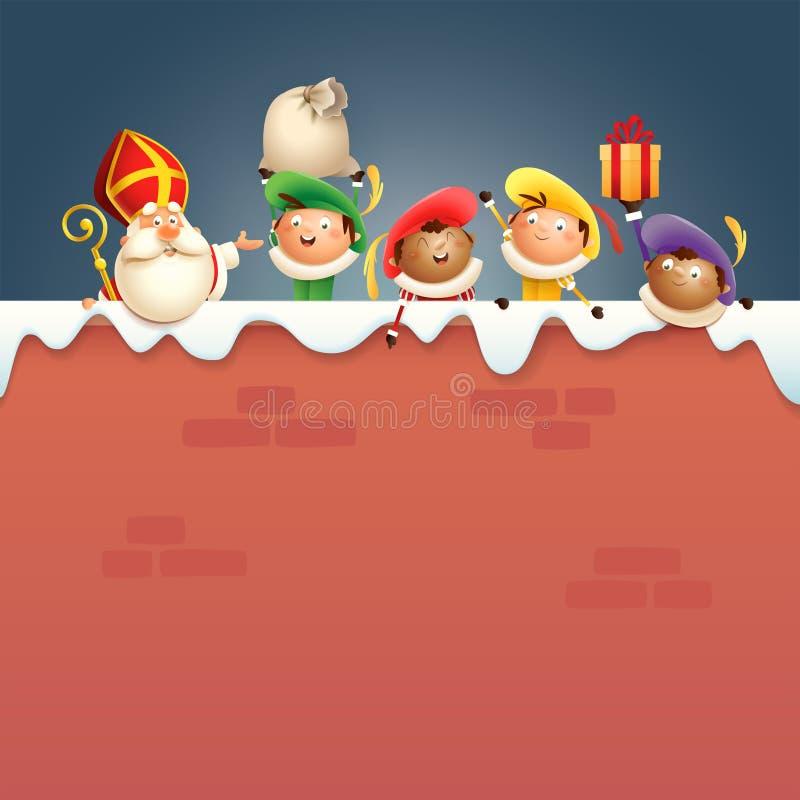São Nicolau ou São Nicolau e ajudantes Zwarte Piets a bordo de - os caráteres bonitos felizes comemoram feriados holandeses na pa ilustração royalty free