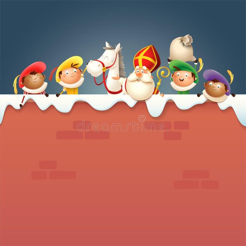 São Nicolau ou Sinterklaas seus cavalo e ajudantes Zwart Piet a bordo de - os caráteres bonitos felizes comemoram o feriado holan ilustração do vetor