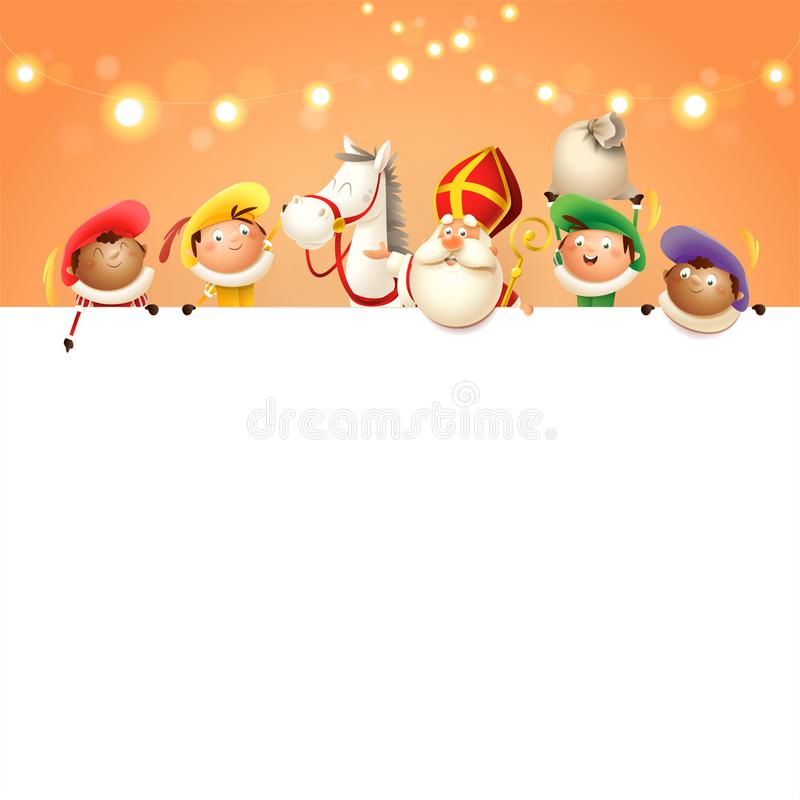 São Nicolau seus cavalo e ajudantes a bordo - os caráteres bonitos felizes comemoram o feriado holandês - do backgro alaranjado d ilustração stock