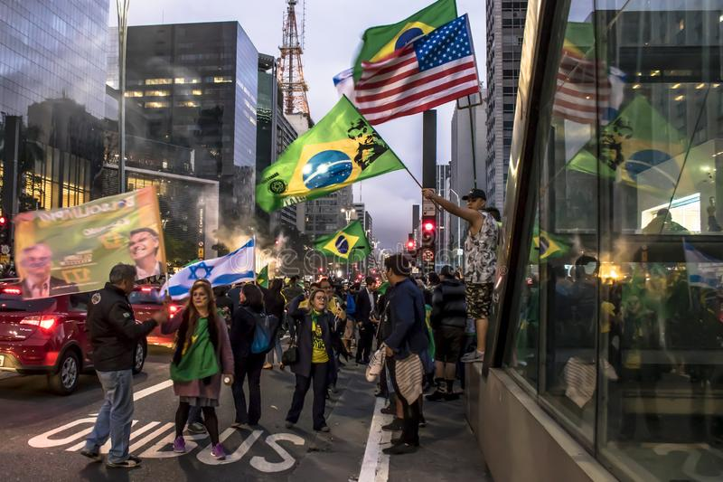 Supporters celebrate Bolsonaro victory in São Paulo - Supporters of President-elect Jair Bolsonaro celebrate the candidate`s vict. São Paulo, Brazil stock photo