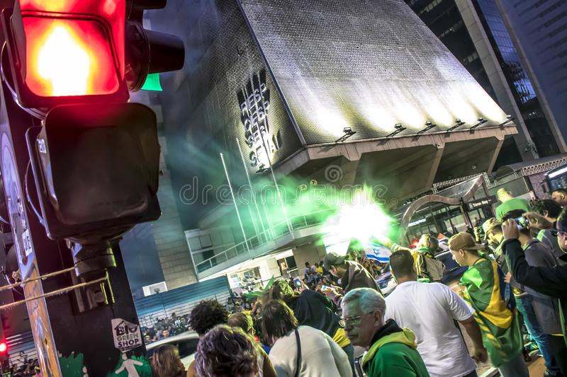 Supporters celebrate Bolsonaro victory in São Paulo - Supporters of President-elect Jair Bolsonaro celebrate the candidate`s vict. São Paulo, Brazil royalty free stock images