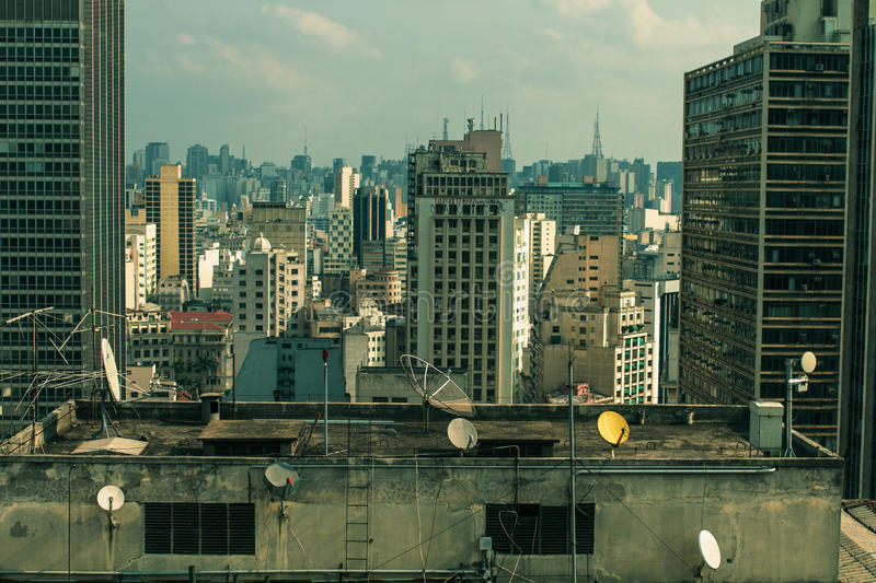 São Paulo cityscape, from the view of the classic Martinelli Tower stock photography