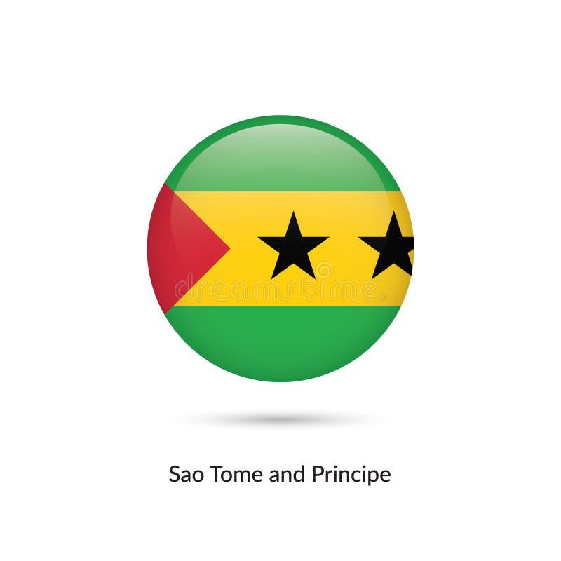 São Tomé och Príncipe flagga - rund glansig knapp royaltyfri illustrationer