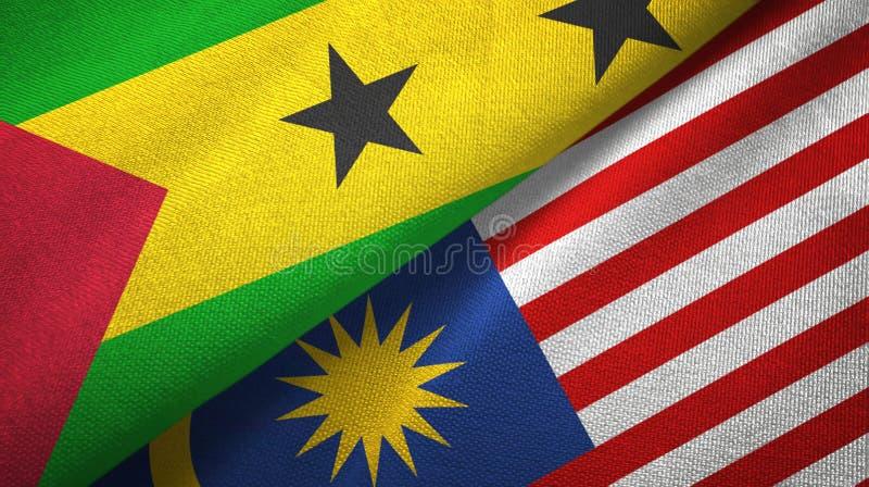 São Tomé och Príncipe och Malaysia två flaggor vektor illustrationer