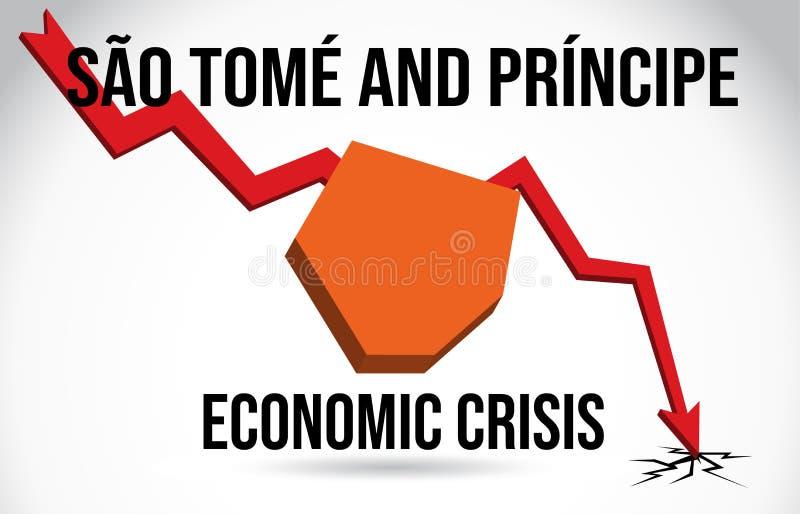São Tomé and Príncipe Map Financial Crisis Economic Collapse Market Crash Global Meltdown Vector. Illustration stock illustration