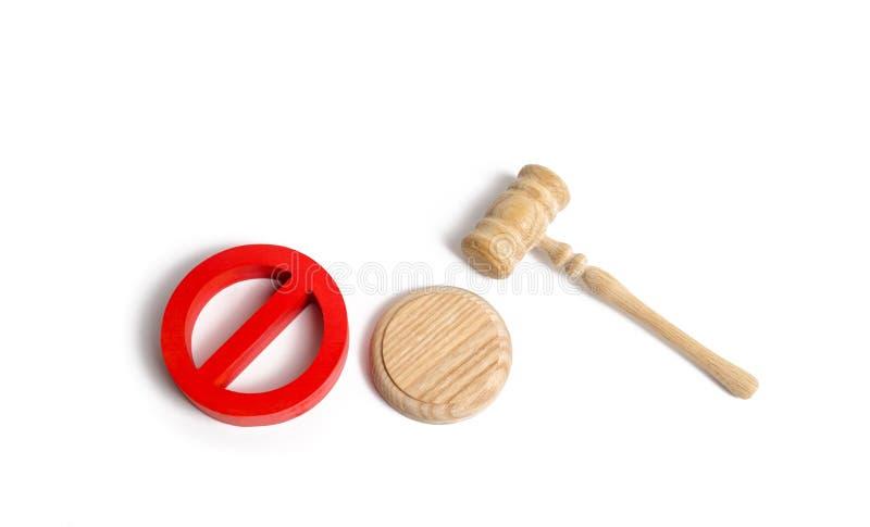 Sędziego młoteczek i czerwień symbol ŻADNY Prawa i przepisy celowali prohibicję i ograniczenie cenzura wygaśnięcie fotografia royalty free
