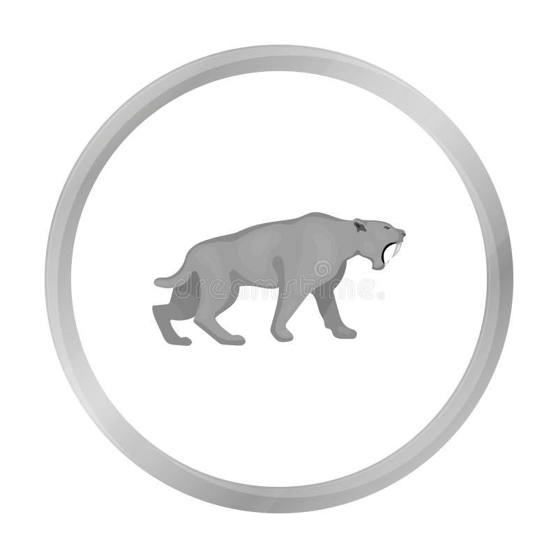 Säbel-gezahnte Tigerikone in der einfarbigen Art lokalisiert auf Weiß Steinzeitaltersymbol lizenzfreie abbildung
