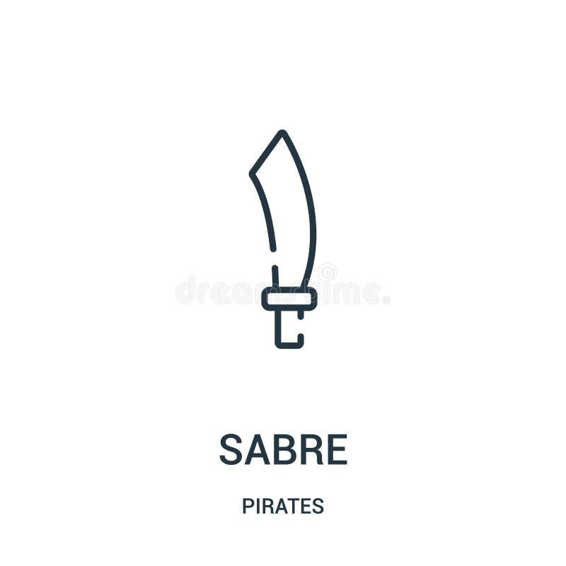 Säbelikonenvektor von der Piratensammlung Dünne Linie Säbelentwurfsikonen-Vektorillustration Lineares Symbol für Gebrauch auf Net vektor abbildung