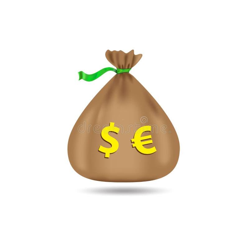 Säck med dollar och euro Påse med pengar På en vit bakgrund också vektor för coreldrawillustration royaltyfri illustrationer