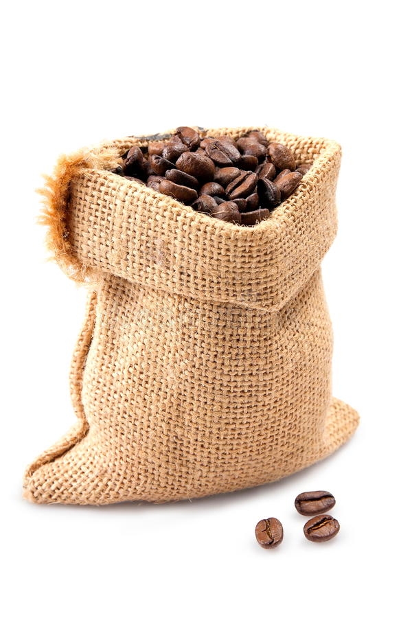 Säck med kaffe arkivfoton