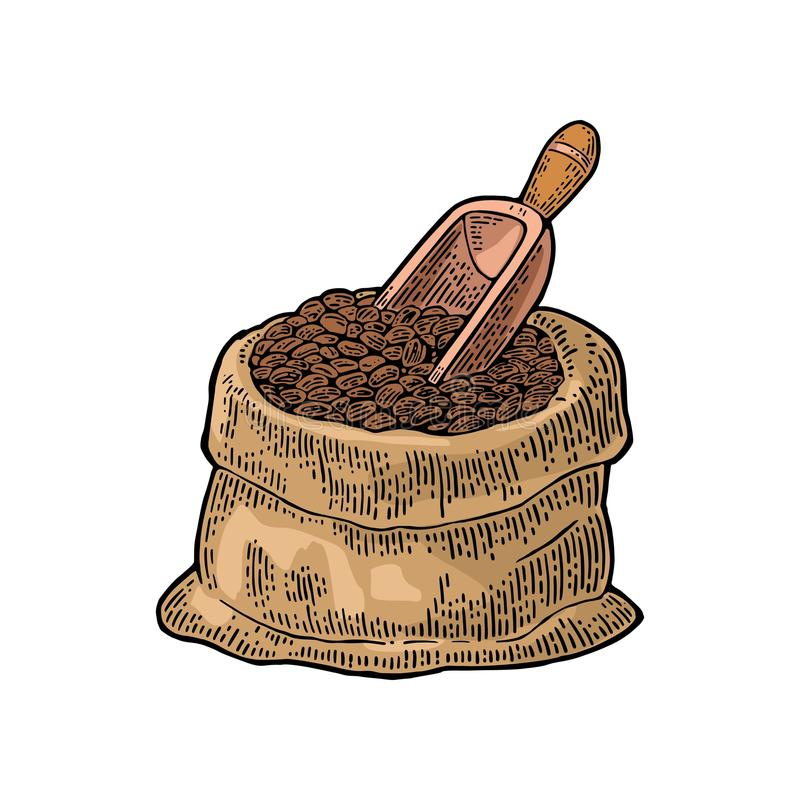 Säck med kaffebönor med träskopan royaltyfri illustrationer