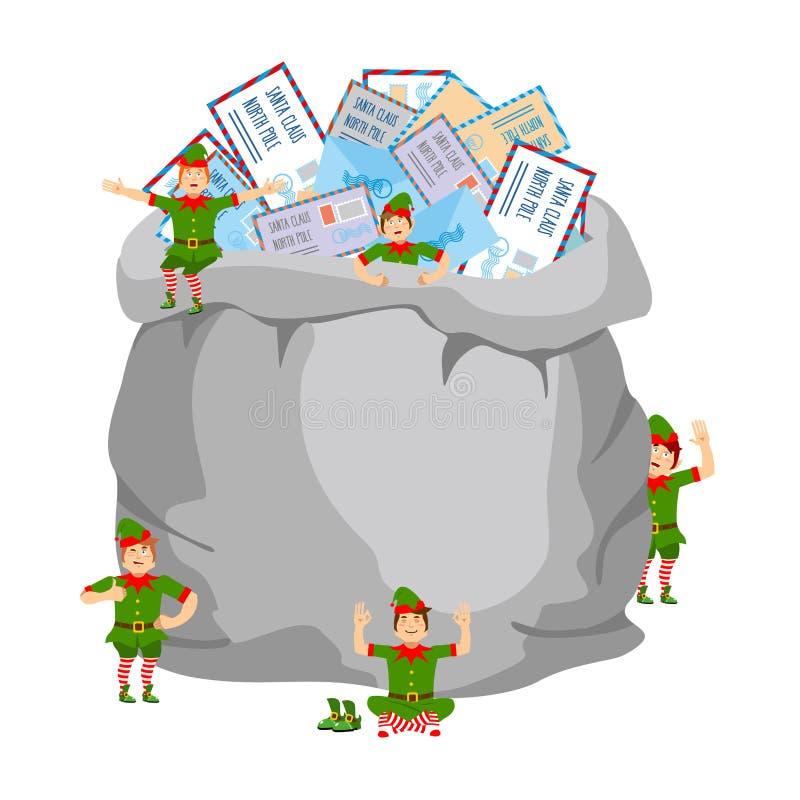 Säck med poststolpen till Santa Claus och älvor Stor påse med lette stock illustrationer