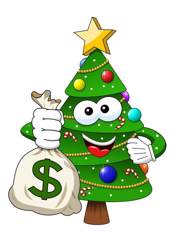 Säck r för dollar för pengar för tecken för maskot för Xmas-julträd hållande royaltyfri illustrationer