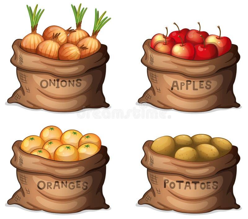 Säckar av frukter och skördar stock illustrationer