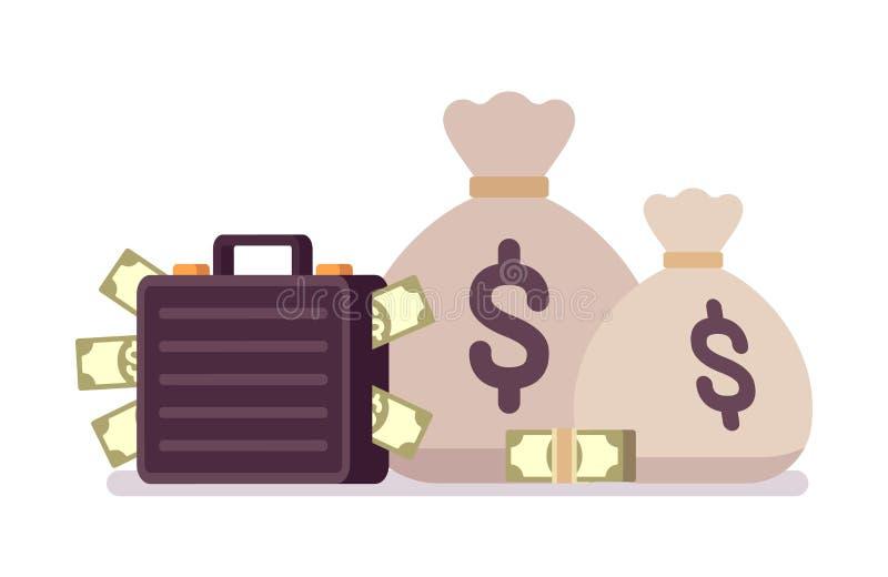 Säcke und Kasten voll des Geldes lizenzfreie abbildung