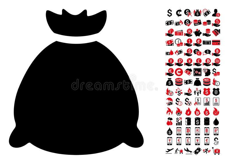 Säckpåsesymbol med 90 bonusPictograms royaltyfri illustrationer