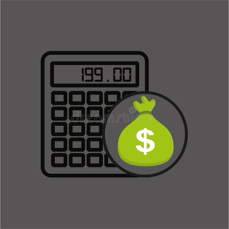 Säckpengar med den finansiella räknemaskinen vektor illustrationer