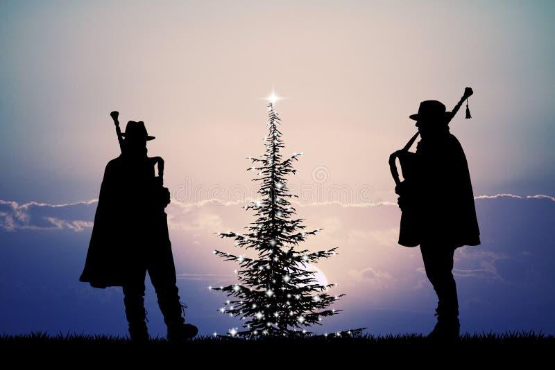 Säckpipeblåsare på jul royaltyfri illustrationer
